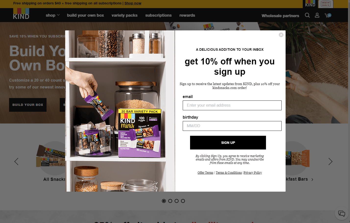 Kind email popup examples