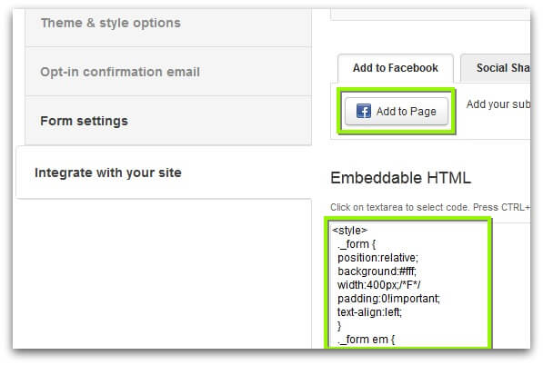 Screenshot of ActiveCampaign subscription form integration