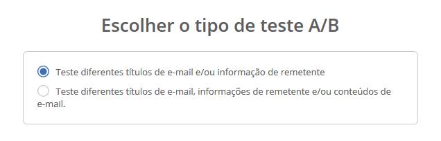 tipo de teste A/B email marketing