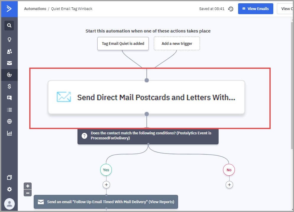 ActiveCampaign direct mail automation example