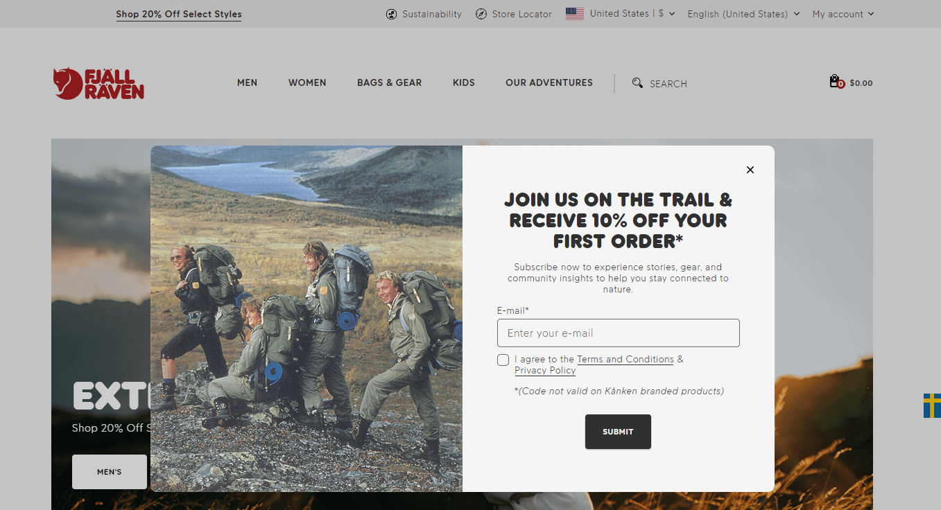 Fjallraven email popup examples