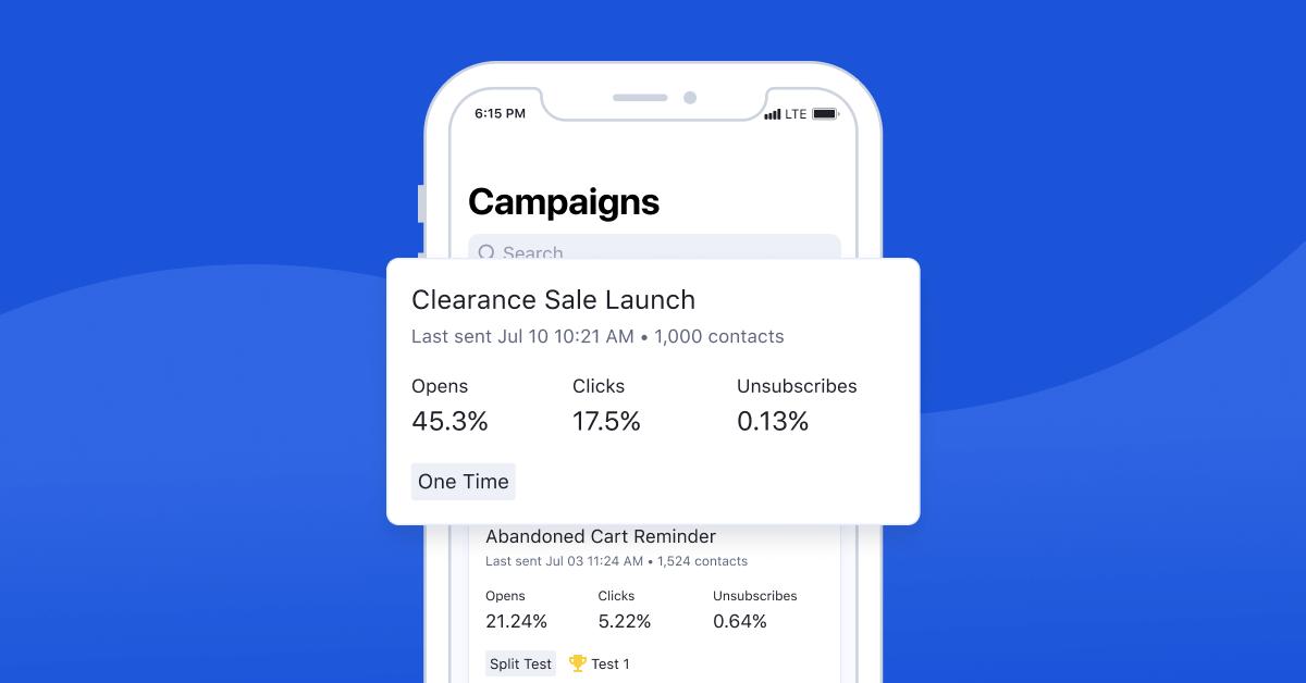 ActiveCampaign mobile app campaigns tab