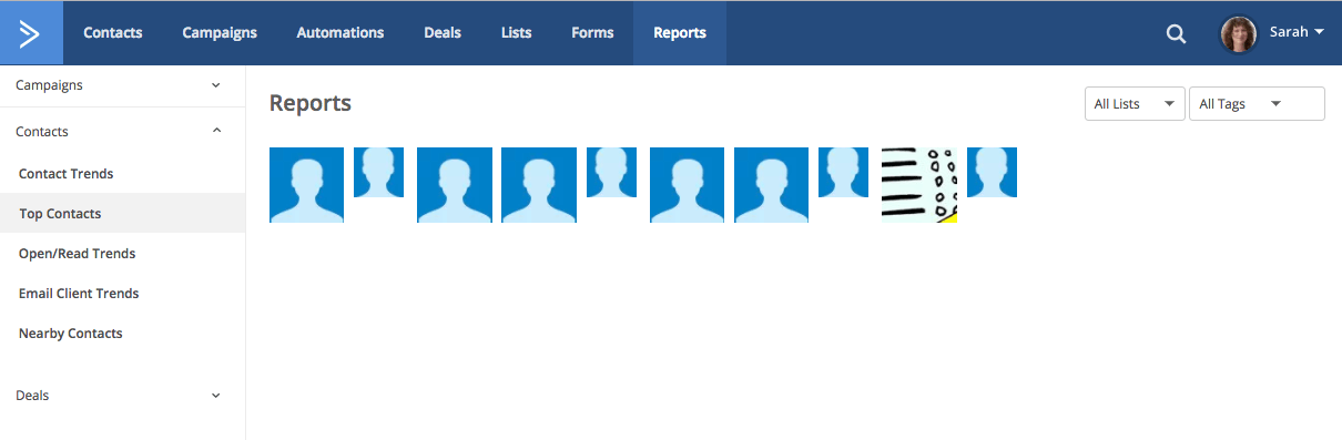 Reports top contacts