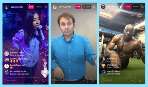 Instagram live examples