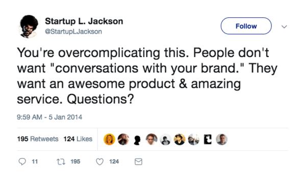 Startup L. Jackson tweet about conversational marketing