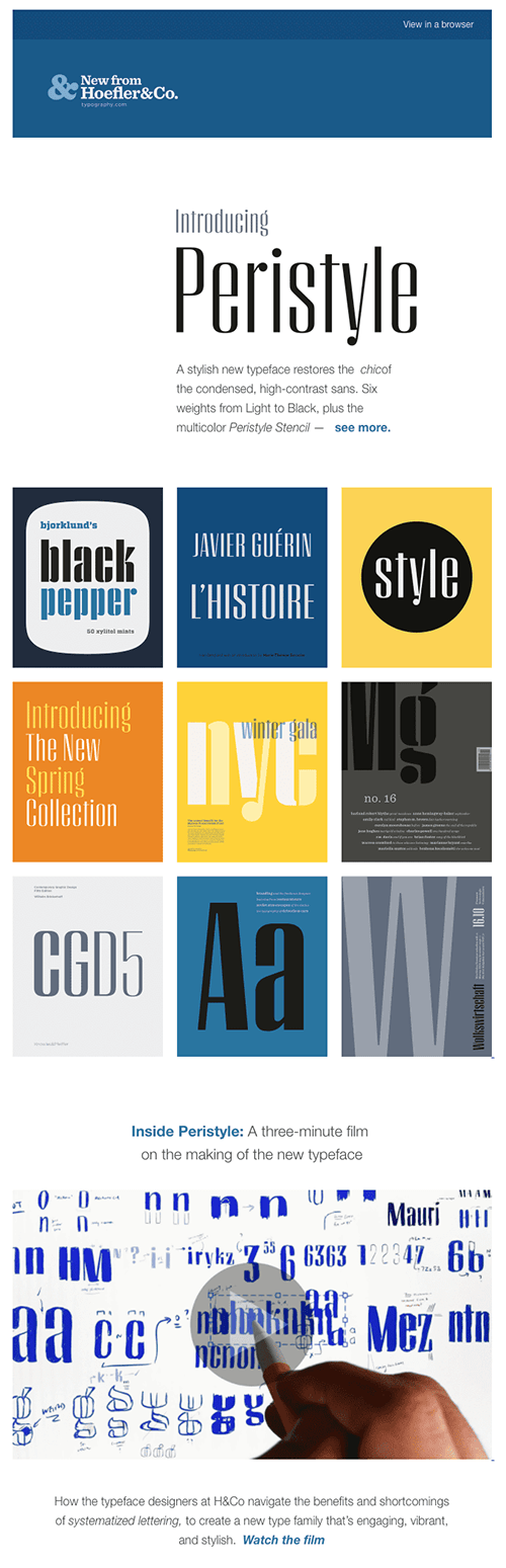 Hoefler product launch email