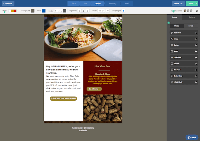 Personalized email marketing for restaurants