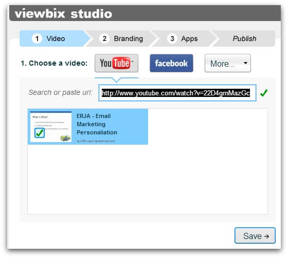 Screenshot of Viewbix player with ActiveCampaign integration