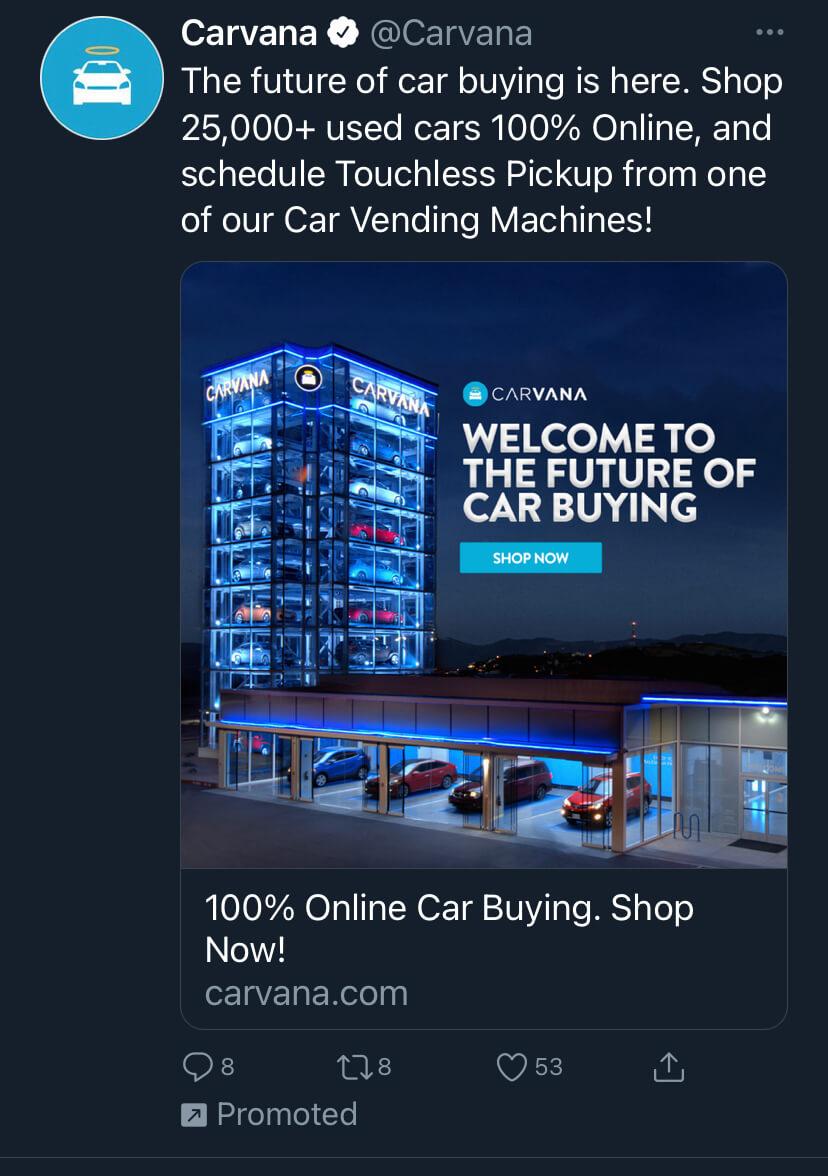 Ejemplo de marketing del ciclo de vida del cliente de Carvana