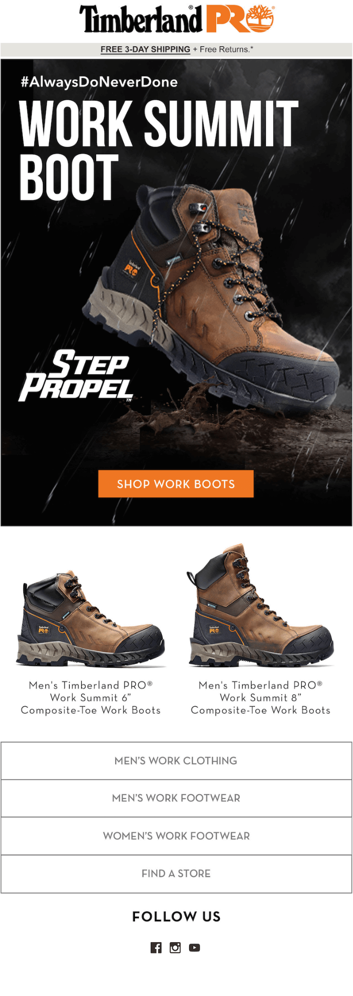 Timberland example of dynamic content in emails