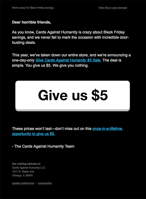 Cards Against Humanity black friday email