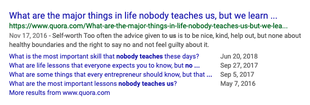 Quora results for 'nobody teaches this'