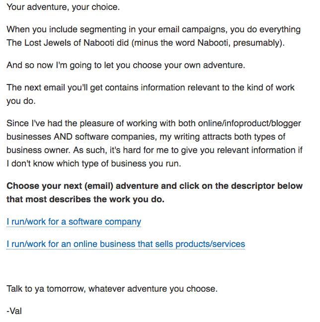 Val Geisler segmentation email