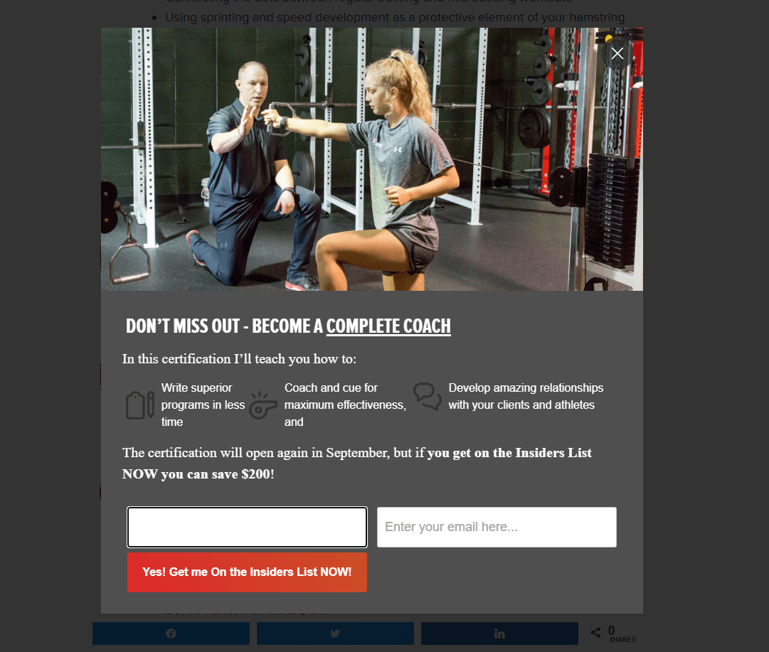 Robertson Training Systems email popup examples
