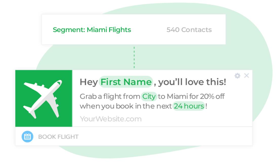 travel example automate web push notifications