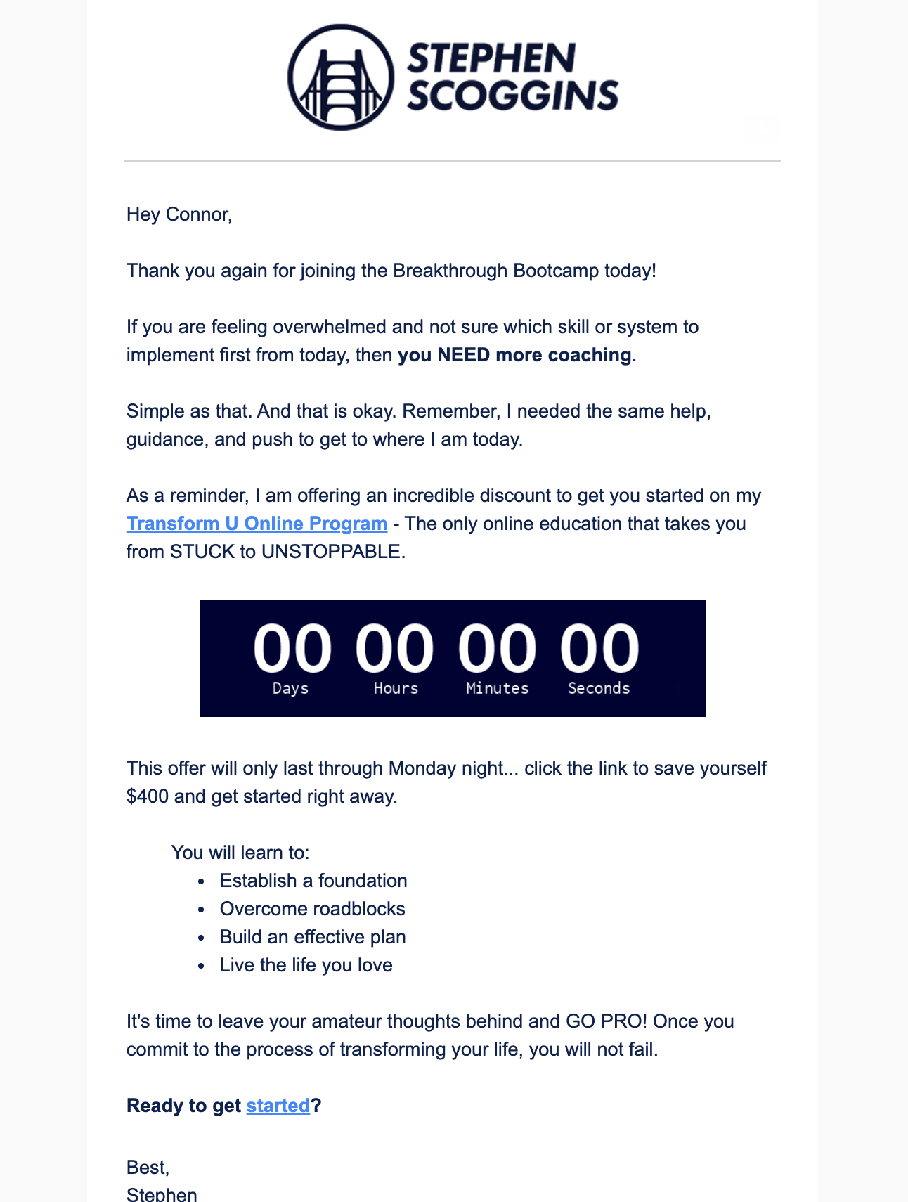 plusthis countdown timer email example