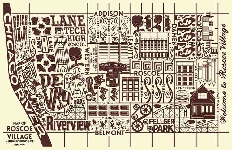 a neighborhood map of Roscoe Village, in an illustrated style