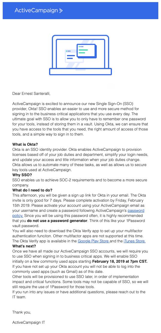 Okta announcement email
