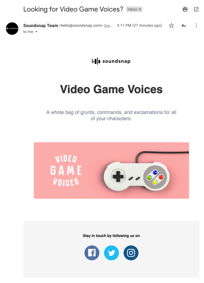 Soundsnap video game email