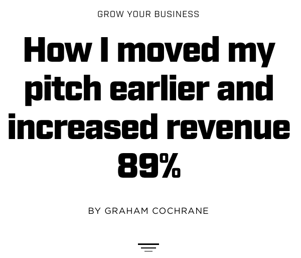Moving the pitch earlier increased sales