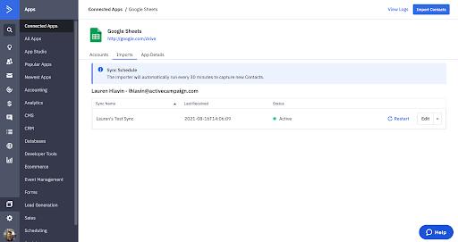 Google Sheets + ActiveCampaign