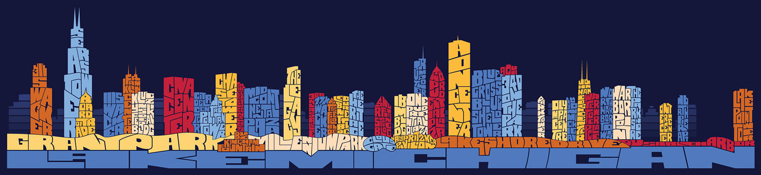 a calligram of the Chicago skyline