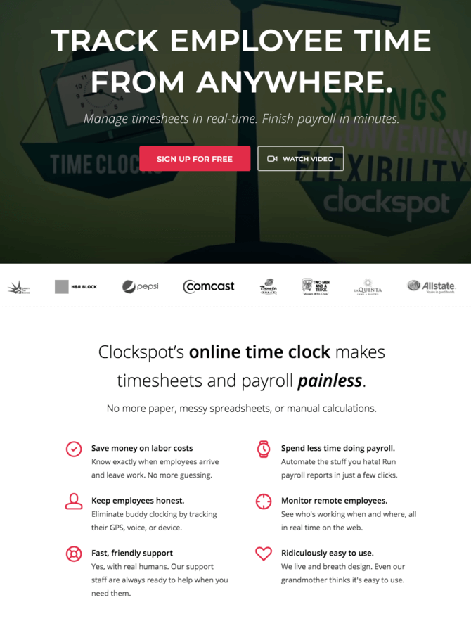 Clockspot homepage copywriting