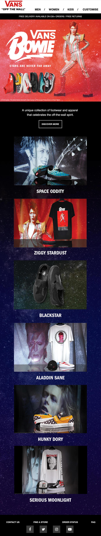Bowie Vans product launch announcement email
