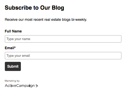 Sample Form for Real Estate Blog