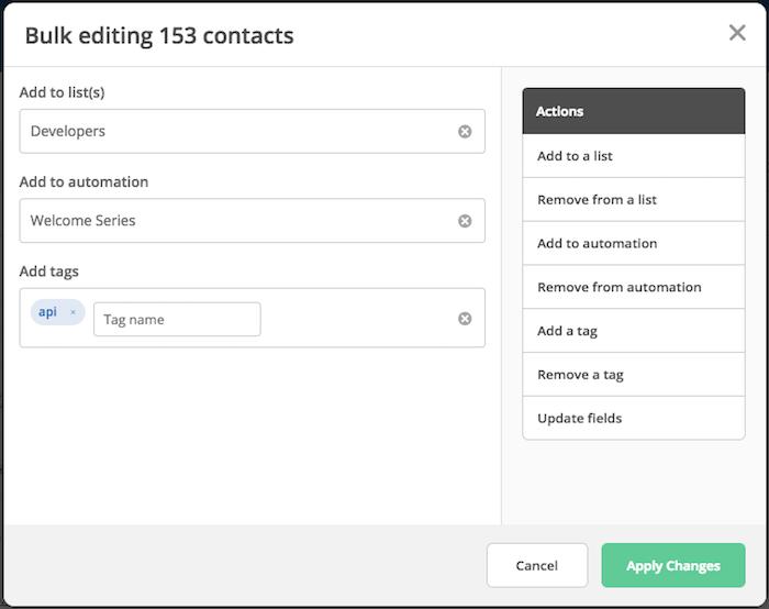 Bulk edit contacts