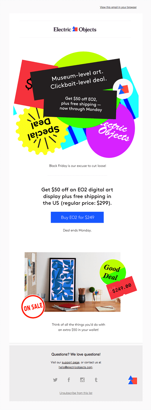 Electric Objects black friday email