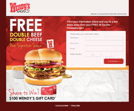 wendys landing page opt in example