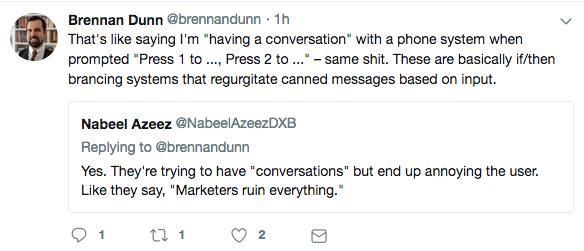 A Brennan Dunn tweet on conversational marketing