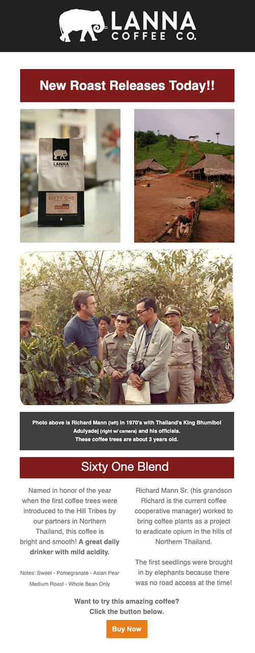 Lanna coffee limited edition launch email