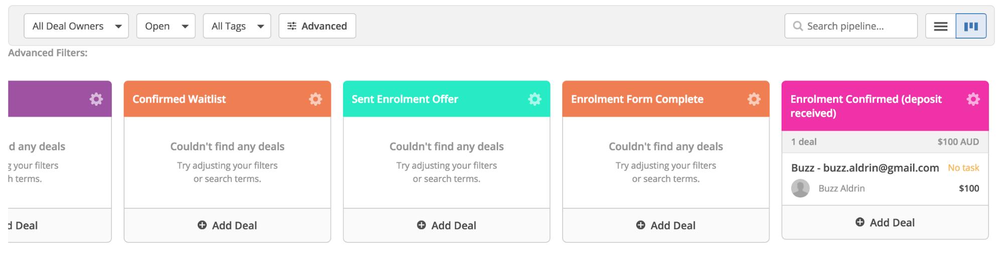 enrollment confirmed deal stage