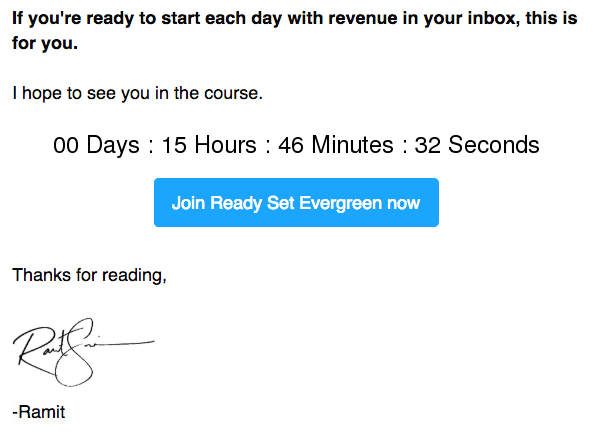 ready set evergreen email