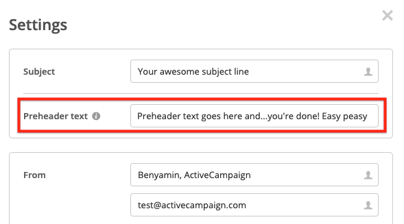add a preheader in ActiveCampaign