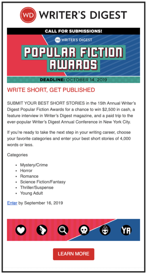 Writer's Digest content popular fiction awards email newsletter design example