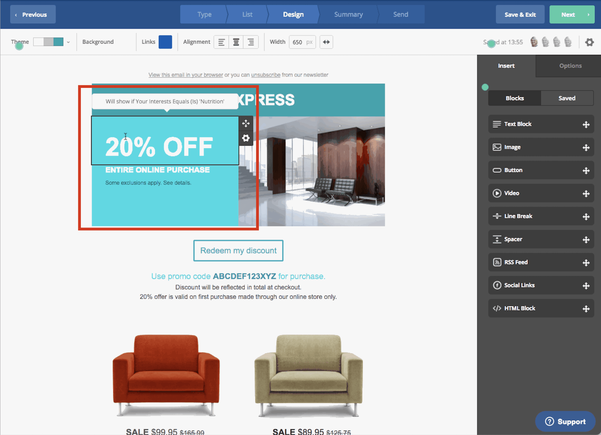content block showing dynamic content in emails