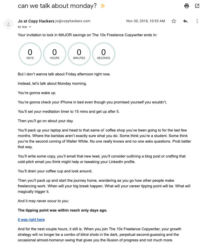 Joanna Wiebe urgency email