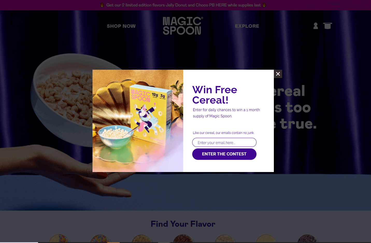 Magic Spoon email popup examples