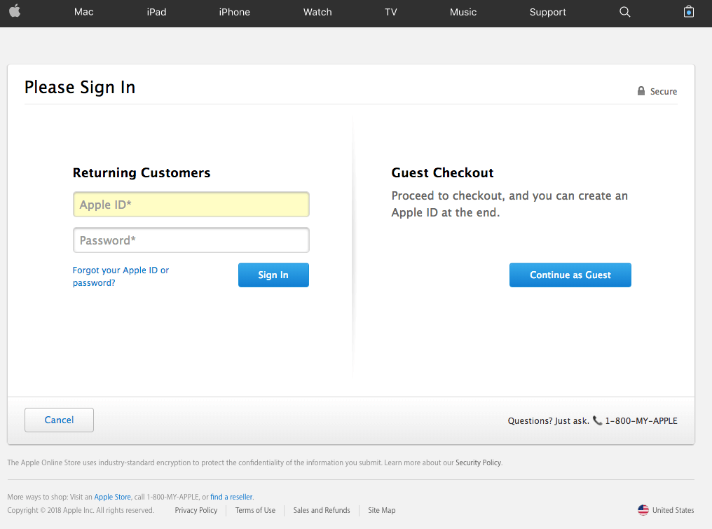 Apple login page