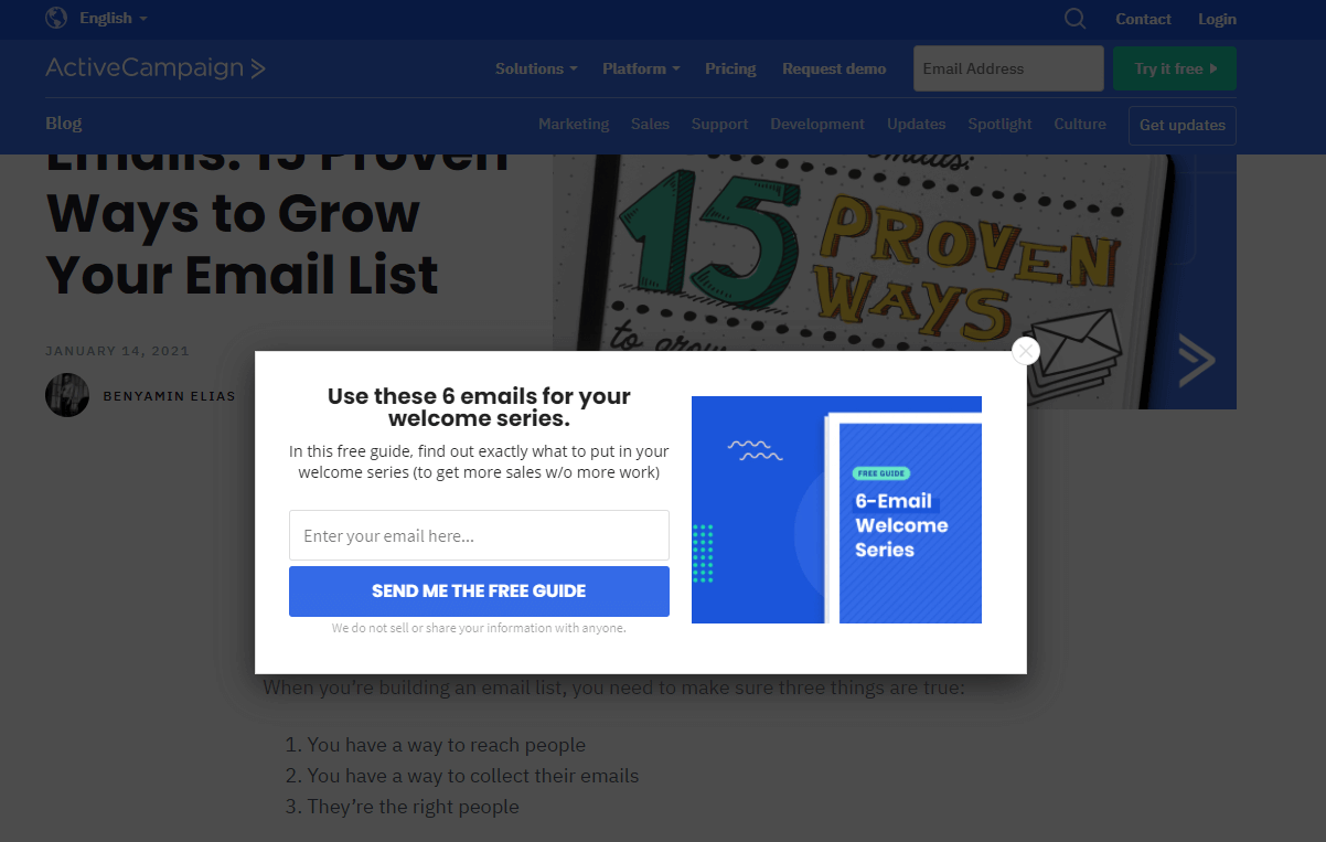 ActiveCampaign email popup examples