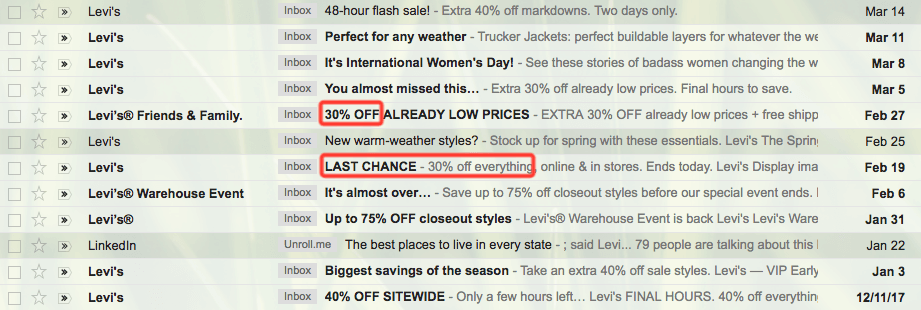 levis loss aversion emails