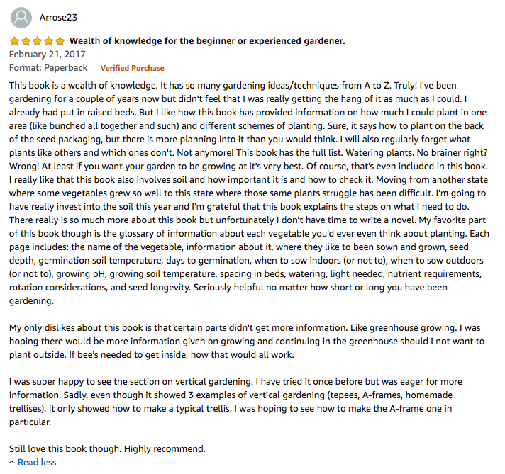 Amazon review of the gardening bible
