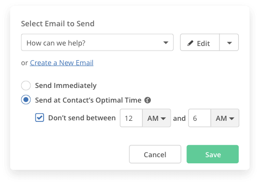 User interface for optimized email send time