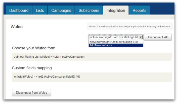 Screenshot of ActiveCampaign Wufoo integration