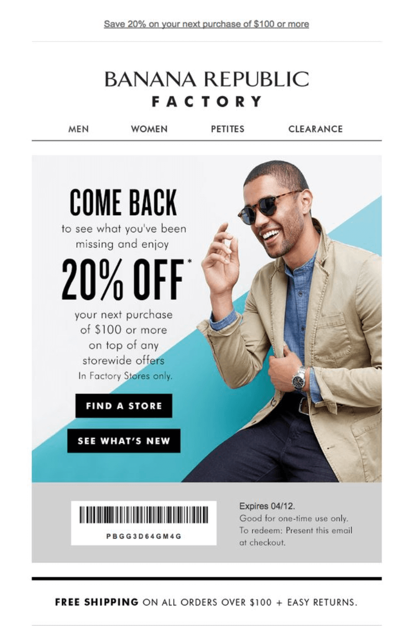 Banana Republic customer lifecycle marketing example