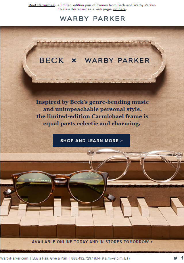 Warby Parker launch email