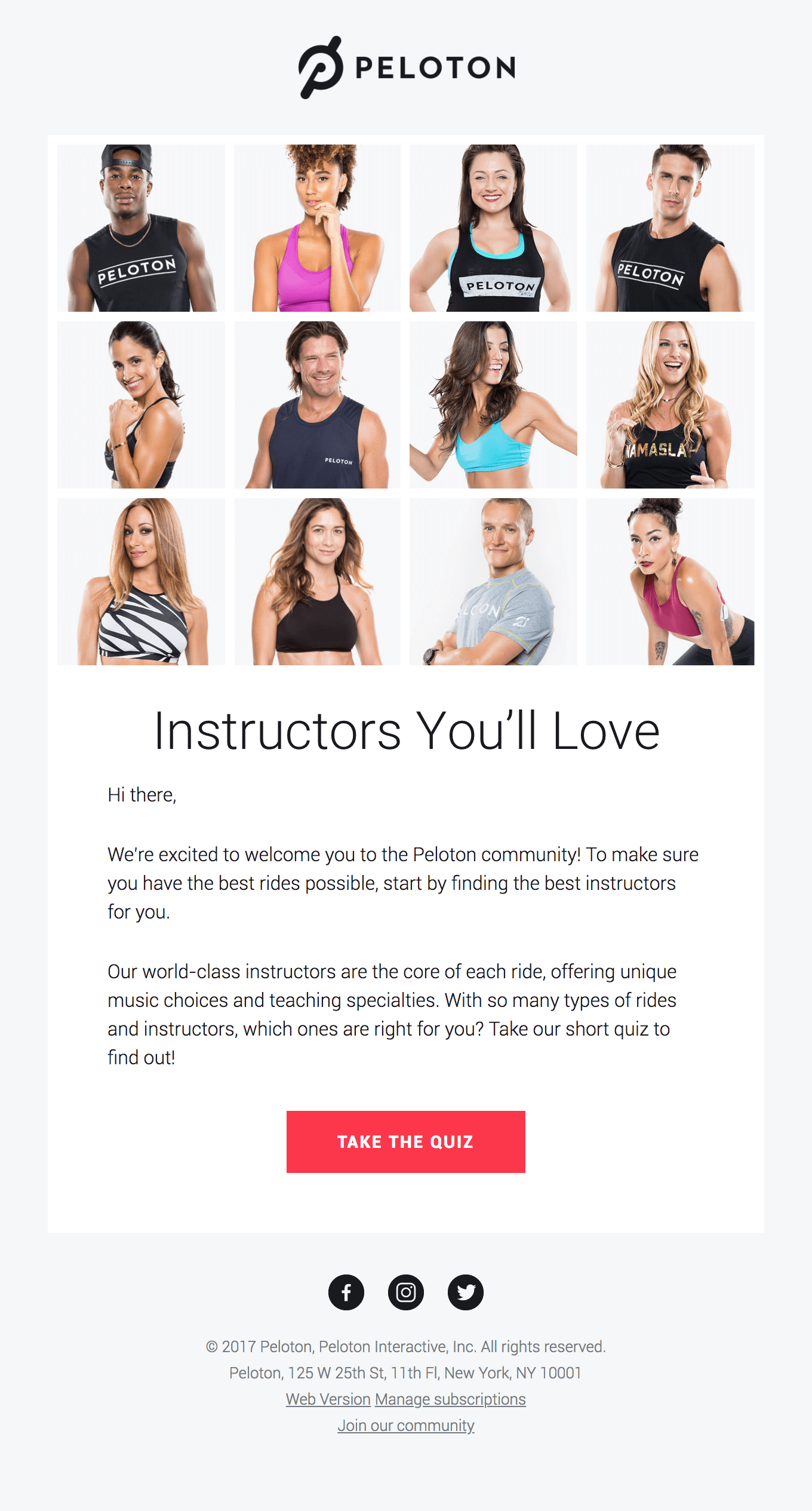 peloton email marketing example